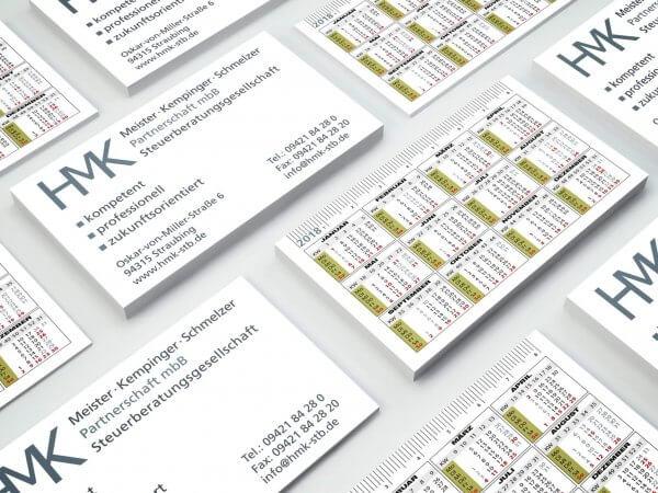 Visitenkarte mit Kalender für Steuerkanzlei Straubing