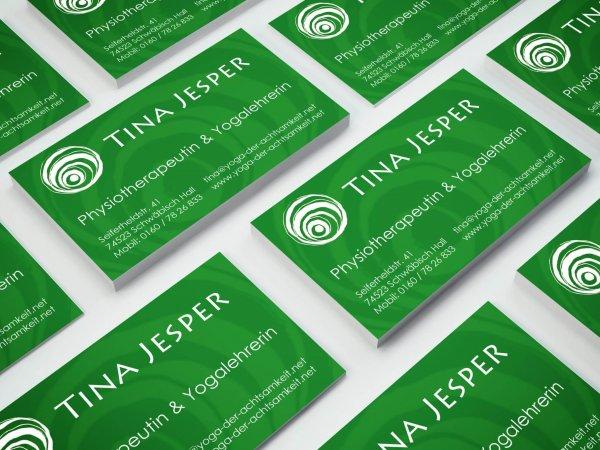 Visitenkarten für Tina Jesper - Yoga Kurse Regensburg
