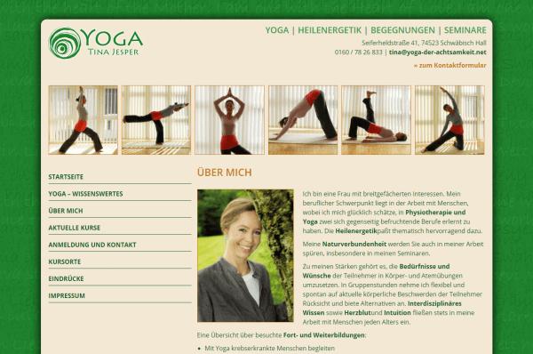 Website für Tina Jesper - Yoga Kurse Regensburg